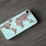 World Map Colored Sketch Custom iPh..